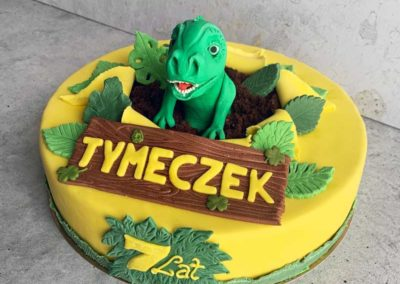 Tort z dinozaurem na zamówienie, idealny na urodziny dziecka - cukiernia Słodki Wentzl Kraków